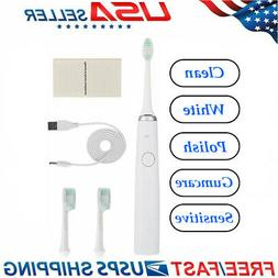 5 Modes White Sonic Electric Toothbrush Rechargeable 2 Soft