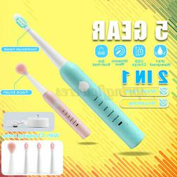 5Modes Sonic Electric Toothbrush USB Timer+ Face/ Tooth Brus
