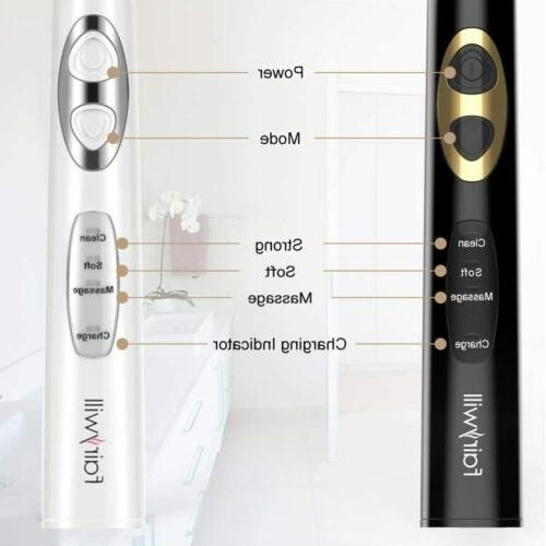 Dual Sonic Toothbrush Rechargeable 8 Brush Heads