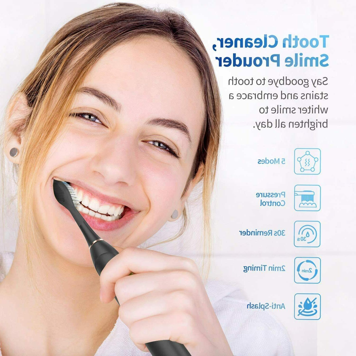 NEW Rechargeable Sonic Toothbrush w/ Modes, Timer, 4 Brush