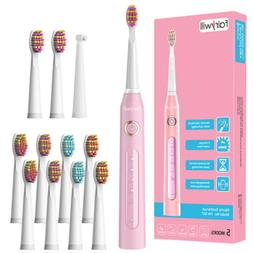 Fairywill Pink Pro Sonic Electric Toothbrush 5 Modes 12Pcs H