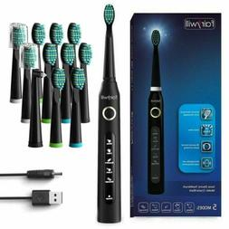 Sonic Electric Toothbrush Rechargeable 12 Brush Heads 507 Bl