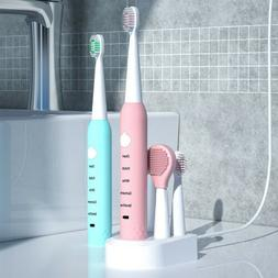 Sonic Electric Toothbrush USB Rechargeable Timer 5 Modes w/